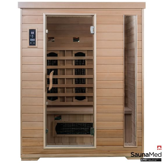SaunaMed 3 Person Classic Hemlock FAR Infrared Sauna EMR Neutral™